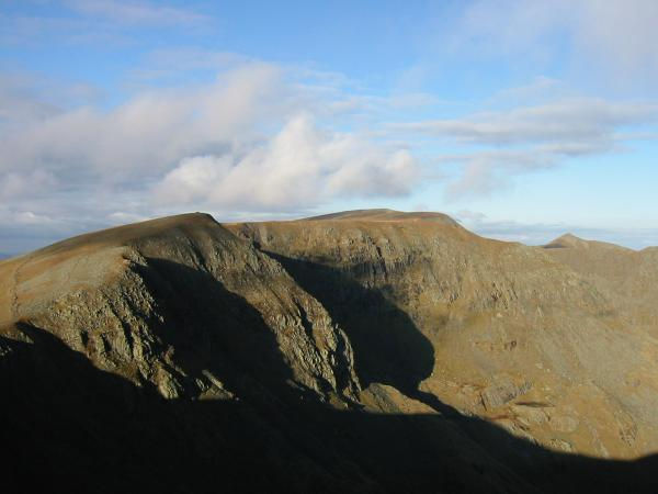 High Crag, the flat top of Nethermost Pike with Helvellyn behind and the pointed top of Catstycam from Dollywaggon Pike