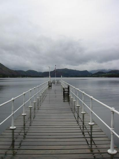 Pooley Bridge Pier and Place Fell during a break in the rain