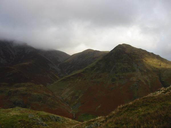 Thirdgill Head Man and Whiteless Pike from near the summit