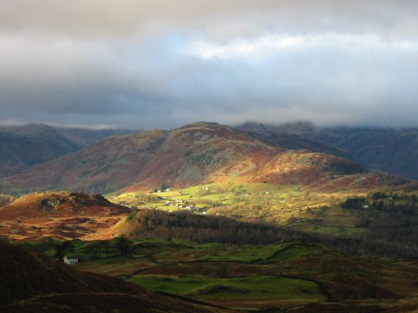 Lingmoor Fell and sunshine in Little Langdale
