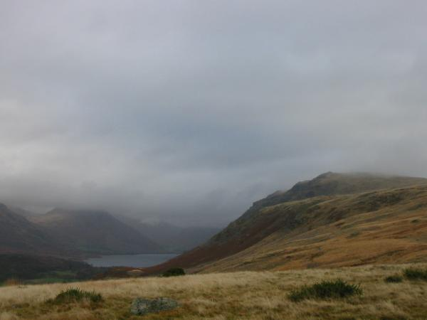 Wastwater and the ridge to Whin Rigg (The Screes) with Yewbarrow (top in cloud) on the left