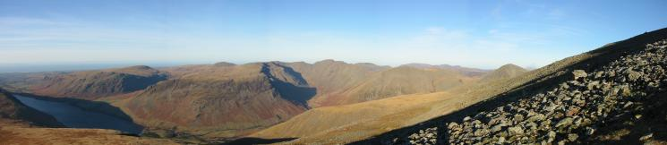 The sea to Great Gable from the ascent of Scafell