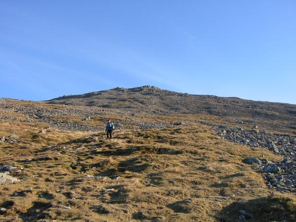 Descending from Scafell's summit