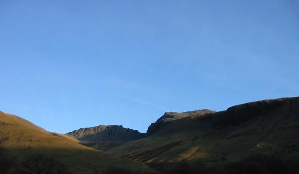 Scafell Pike and Scafell from near Brackenclose