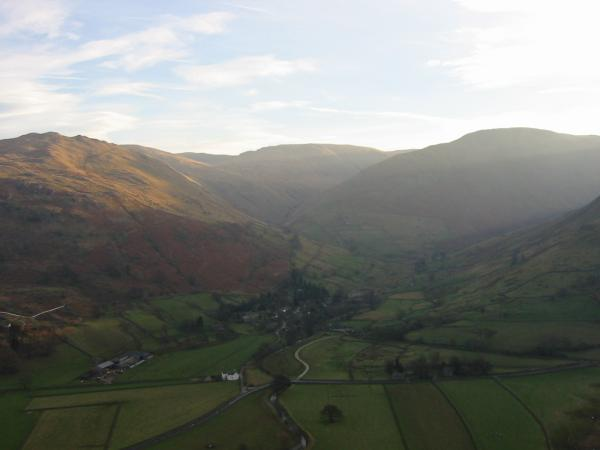 Hartsop with Brock Crags catching the sun