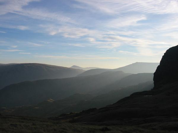 The far eastern fells with Dove Crag on the right