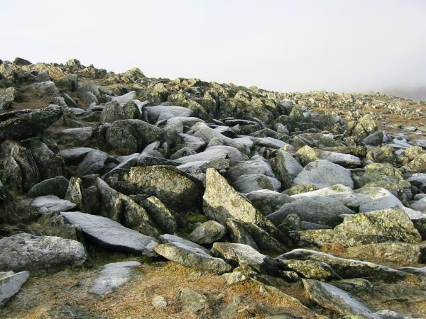 Hoarfrost on summit boulders