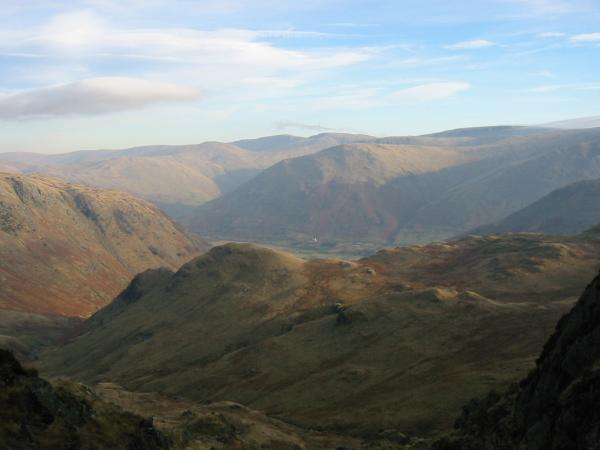 Looking out over Stangs to the far eastern fells from the descent into Dovedale