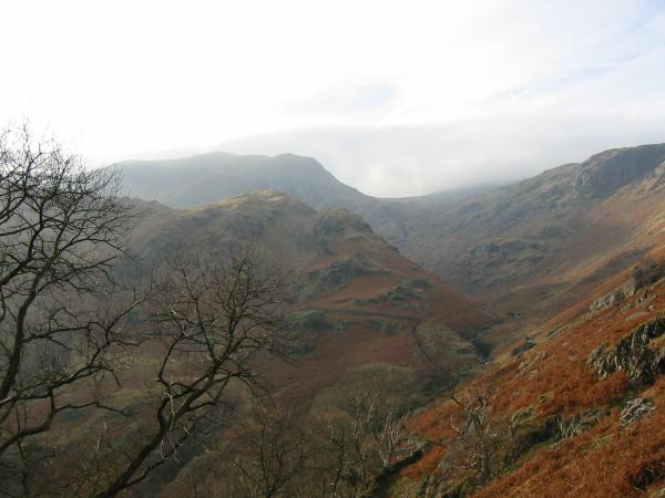 Looking back up Dovedale to Dove Crag