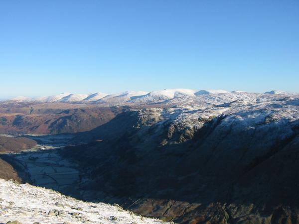 Looking over Borrowdale and Rosthwaite Fell to the Helvellyn range from Base Brown