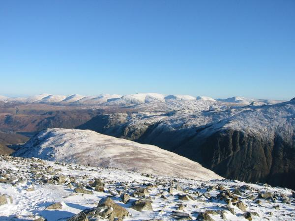Looking back to Base Brown from the ascent of Green Gable with the Helvellyn ridge in the distance