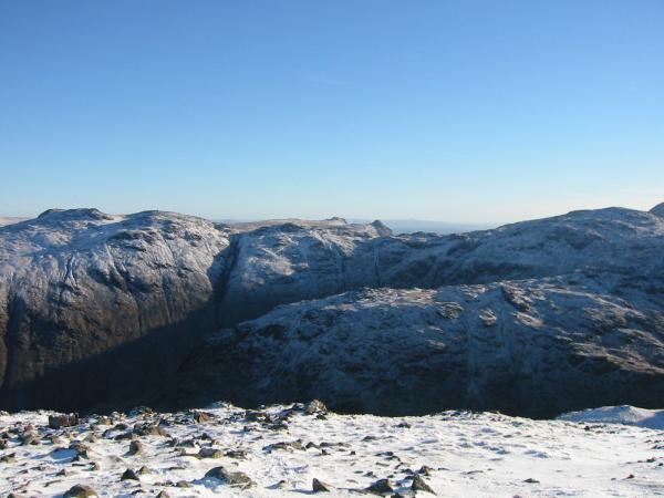 Looking east to the Langdale Pikes