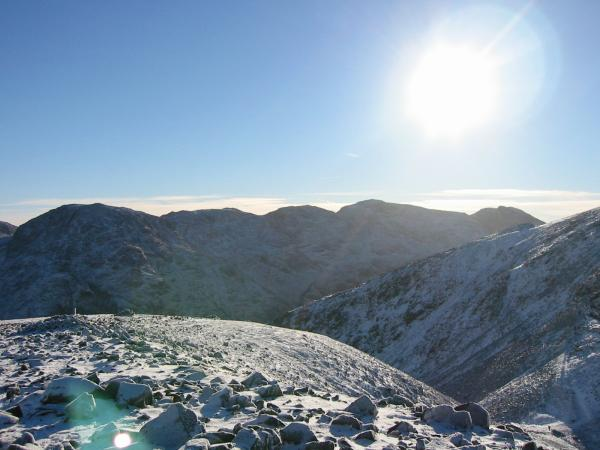 Great End, Ill Crag, Broad Crag, Scafell Pike and Scafell from Green Gable's summit