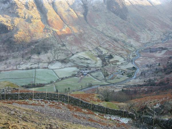 Looking down on Seathwaite from above the Plumbago mines