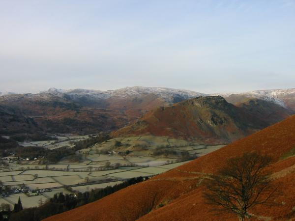 The Langdale Pikes, High Raise and Helm Crag from the ascent of Stone Arthur
