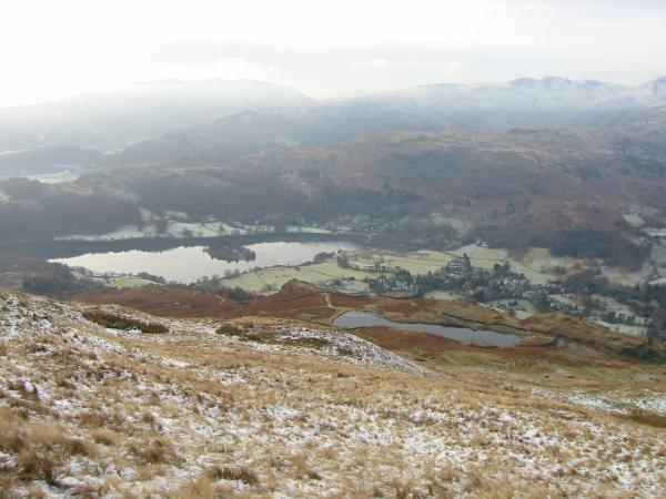 Looking down on Alcock Tarn and Grasmere from the descent off Heron Pike