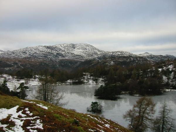 Wetherlam from a frozen Tarn Hows