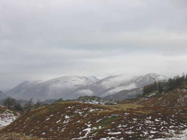 The Helvellyn and Fairfield fells from the path to Black Crag's summit