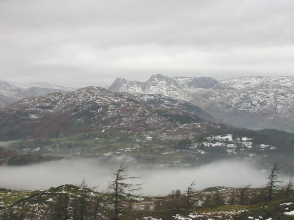 The Langdale Pikes behind Lingmoor Fell