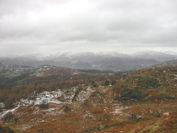 The Helvellyn and Fairfield fells from high up on Holme Fell