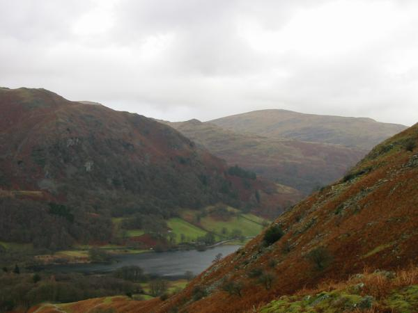 The bulk of Nab Scar, point of Low Pike and Red Screes with Rydal Water below from the ascent