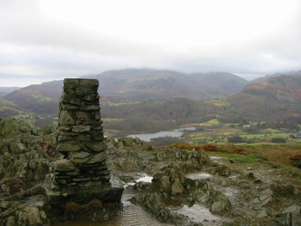 Wetherlam in cloud and Elter Water from Loughrigg's summit