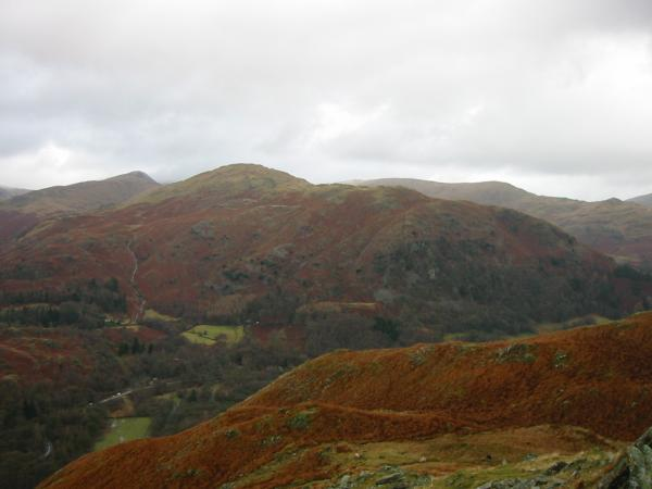 The ridge of Great Rigg, Heron Pike and Nab Scar with the Dove Crag, High Pike, Low Pike ridge behind