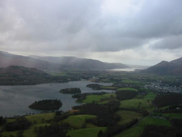 Derwent Water and Bassenthwaite Lake from Walla Crag summit