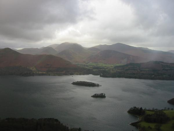 Looking across Derwent Water to the north western fells from Walla Crag summit