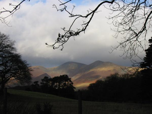 The Skiddaw fells catch some sunshine, briefly