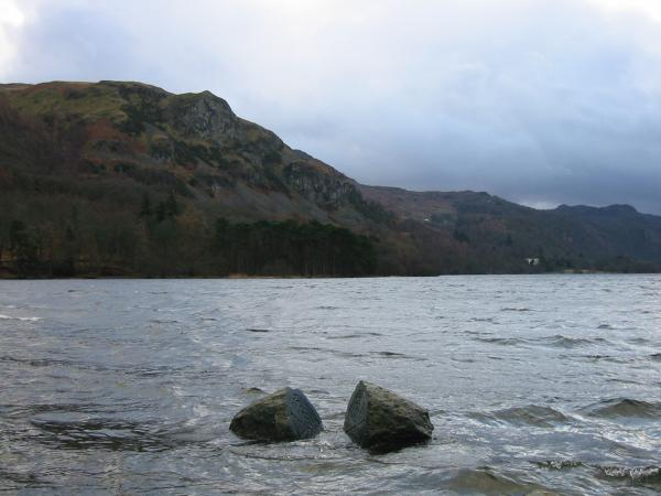 The Hundred Year Stone, Calfclose Bay, Derwent Water with Falcon Crag behind