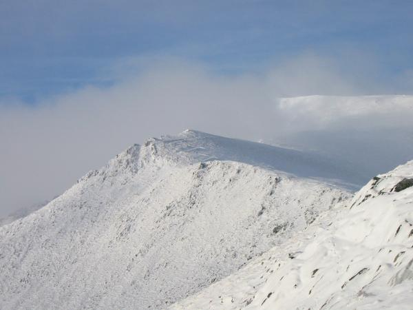 Looking up Scale Fell with Doddick Fell the ridge on the left and Blencthra summit half in cloud above