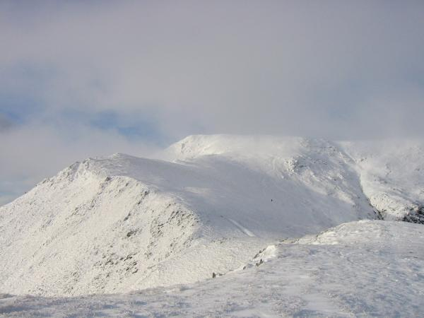 Blencathra's summit briefly out of cloud