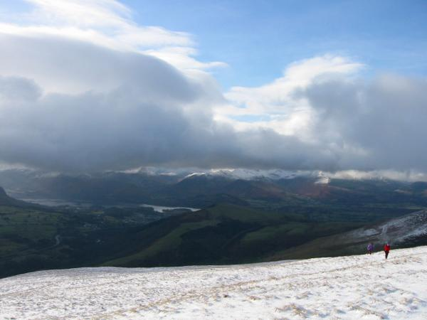 Derwent Water, the north western fells and a snow free Latrigg
