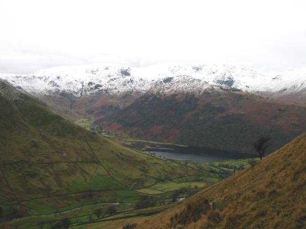 The Fairfield fells and Brothers Water from the ascent of Brock Crags