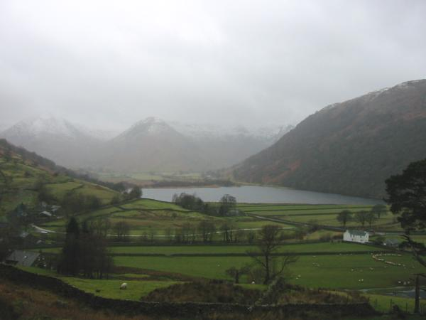 Brothers Water from above Hartsop as the weather closes in