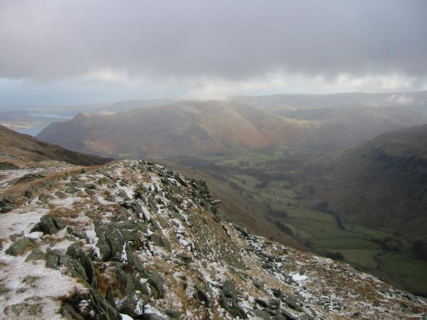Looking back down the ridge to Place Fell and down into Grisedale