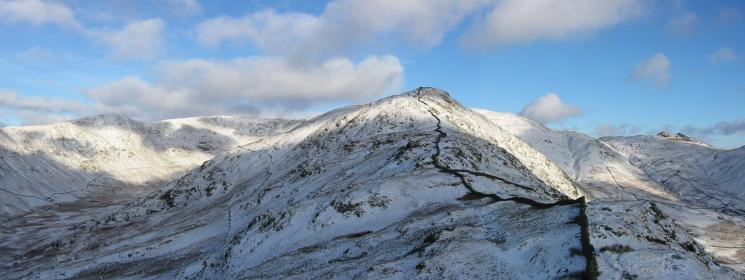 High Pike from Low Pike's summit with Great Rigg and Fairfield on the left and Little Hart Crag on the right