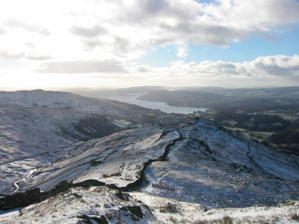 Looking back to Low Pike and Windermere from the climb up High Pike