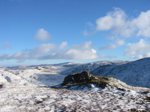 The far eastern fells from High Pike's summit