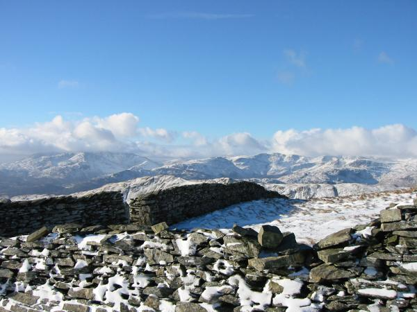 The Coniston and Langdale fells from the ridge