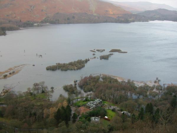 Looking down on Lodore Landings (under water) and Mary Mount Hotel from Surprise View