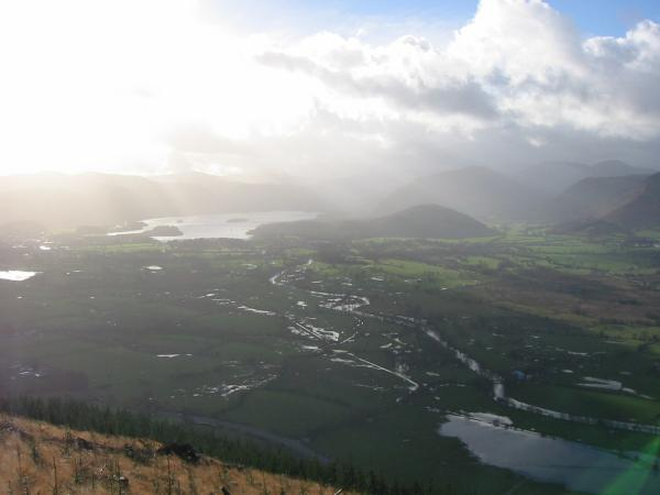 The view south towards Derwent Water