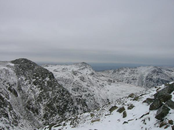 Ill Crag, Bowfell and Crinkle Crags from the final slope to Scafell Pike's summit