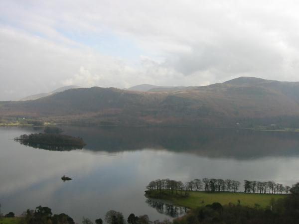 Looking across Derwent Water to Walla Crag and Bleaberry Fell