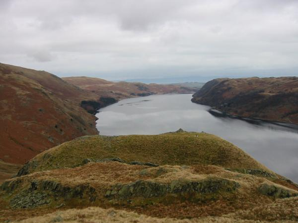 The British Fort on the southeast ridge of High Raise with Haweswater beyond