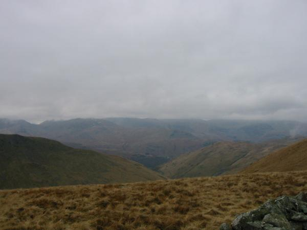 The view west. The Helvellyn ridge in cloud