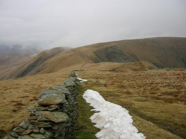 The last of the snow. Looking back north from our ascent of High Street