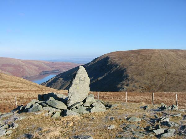 Haweswater and Branstree from the boundary stone marking the top of Adam Seat