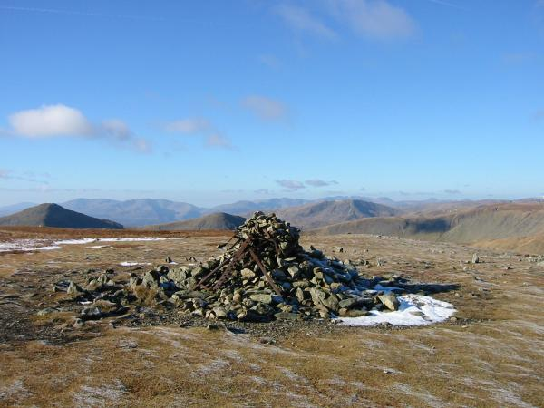 The view west from Harter Fell's summit cairn